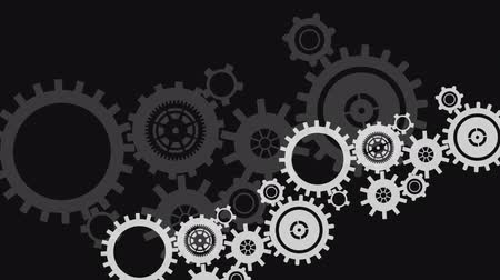 vector : Digital animation of rotating gray industrial gears  in a black background