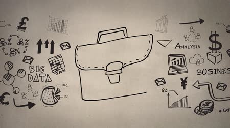 разъем : Sketch animation of a brown bag with yellow click and lock connector. Random vector icons about business and finance on a brown background