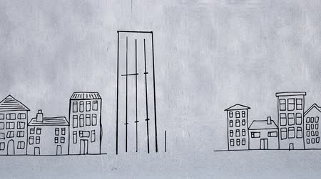 wizualizacja : Sketch animation of two buildings, the one on the left is taller than the one on the right and random sketches of small houses and buildings on a light gray background