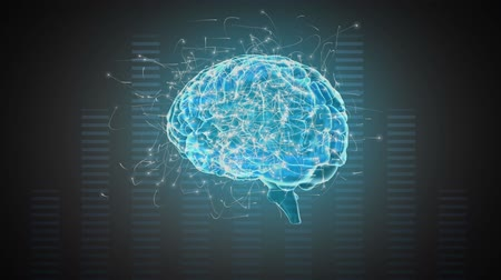 effects on brain : Digital animation of a rotating blue brain with surrounding particles on a moving frequency bars background Stock Footage