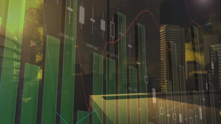 wizualizacja : Side-view of a digital animation of a moving bar graph with standard errors on a cinematic view of a cityscape with skyscrapers Wideo