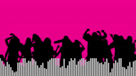 wizualizacja : Digital animation of a group of people in silhouette with moving white digital bars at the bottom, in a pink background