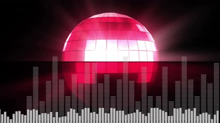 wizualizacja : Digital animation of a rotating red disco ball with two different sets of moving digital bars in the bottom