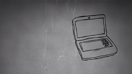 wizualizacja : Sketch animation of a white laptop on a static gray background