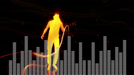 wizualizacja : Digital animation of a dancing man with a hat in yellow silhouette. White digital bars moving at the bottom of the screen, and random yellow line particles moving across a red background