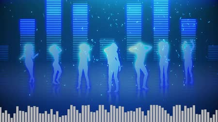 wizualizacja : Digital animation of seven females dancing in white to neon pink gradient silhoutte. White digital bars moving at the bottom and colorful digital bars moving at the back with confetti animation
