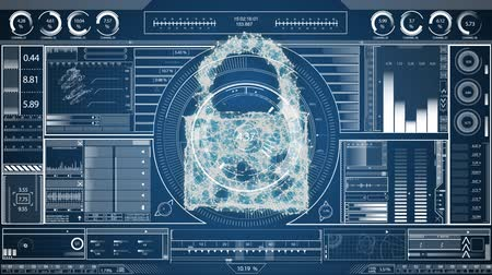 privacy : Digital animation of a cyber lock in the middle and random moving data visualisation concept on a screen as background Stock Footage