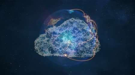 banda larga : Animation of a digital cloud in the middle with a rotating 3d globe at the back with yellow network lines, on a starry night background Stock Footage