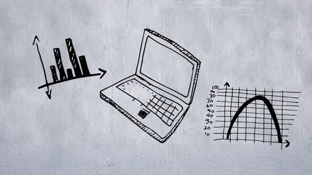 wizualizacja : Digital animation of a sketched white laptop with an increasing line trend shown on the monitor. Two other sketched graphs on a gray background