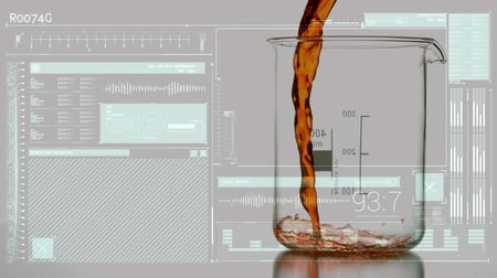 dalgalanan : Digital animation of a brownish liquid poured into a measuring beaker with fluctuating frequency measurement applications in a computer screen.