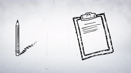 dosya : Digital animation sketch of a memo notepad clipboard and a pencil pointing upwards.