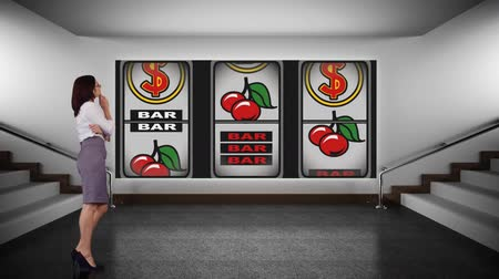 ruletka : Digital animation of a businesswoman looking at a casino slot machine with images of cherries, number 7 and US dollar sign in a office room with stairs.