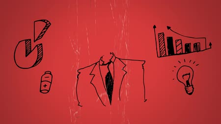 számvitel : Digital animation sketch of a businessman in suit and statistical tools in a red background.