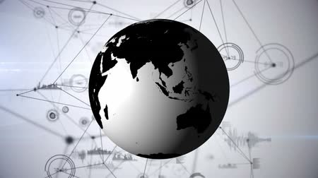 gibi : Digital animation of the World globe in black and white and blockchain networks with statistical tools as background. Stok Video