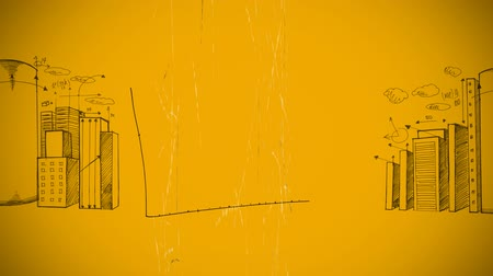 vector : Digital animation of a moving area graph on the middle with random architectural sketches of buildings on both sides, on a mustard yellow background Stock Footage