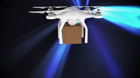 определение : Digital animation of a drone with a parcel flying above blue light lines moving on a dark background