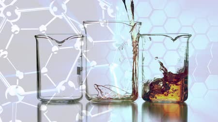 aqueous : Digital animation of liquid filling beakers against molecule shapes on the background Stock Footage