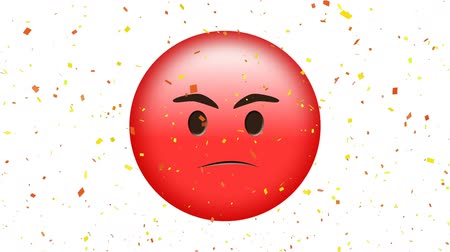 very : Animation of red emoji looking very angry while confetti falls down against white background