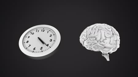 temporal : Animation of clock ticking and brain rotating against black background