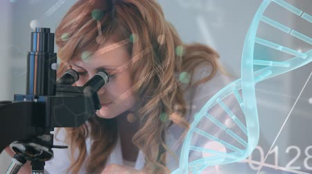 forensic science : Digital composite of pretty Caucasian female scientist looking through microscope while DNA rotates on the foreground Stock Footage