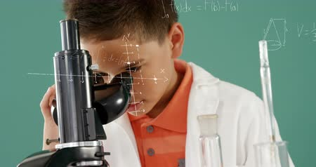 преподаватель : Digital composite of a Caucasian boy looking into a microscope and equations running in the foreground 4k