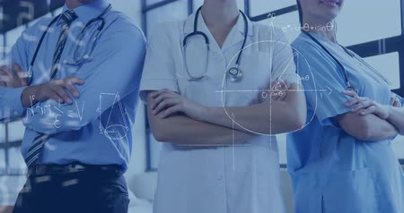 lab employee : Digital composite of medical practitioners with arms crossed. Mathematical equations are seen in the foreground 4k