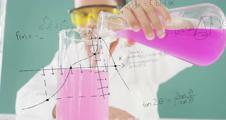 spolužák : Digital composite of a boy scientist mixing chemicals with graphs and equations running in the foreground 4k
