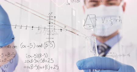 pipette : Digital composite of a chemist mixing chemicals and graphs and statistics running in the foreground 4k Stock Footage