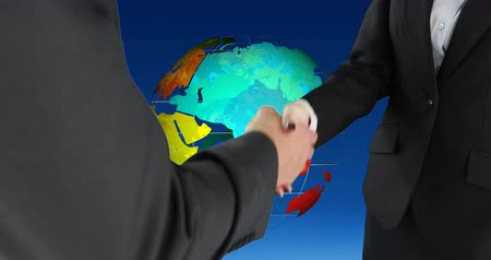 global iş : Digital composite of a handshake between businessman and a businesswoman and a rotating globe in the background 4k