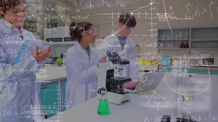 pipet : Digital composite of three scientists studying in a lab and a foreground filled with equations. One scientist types on a laptop, another is using a microscope, and one is writing on a notebook