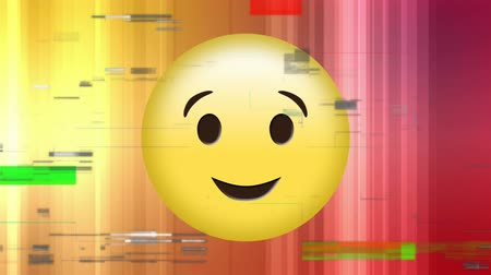 обмен сообщениями : Digital animation of a winking face emoji with pixel noise and a colourful background