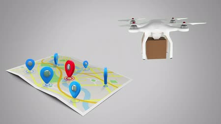 cardboard box : Digital animation of drone delivering a package to a map filled with locations indicators