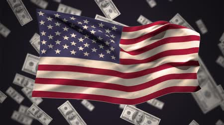 cash free : Digital animation of an american flag waving against a black background with dollar bills