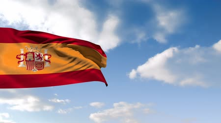 ensign : Digital animation of a Spanish flag waving against a bright blue sky Stock Footage