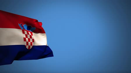 ザグレブ : Digital animation of a Croatian flag waving against a blue background 動画素材
