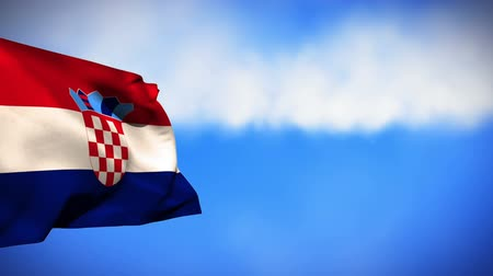 plitvice : Digital animation of a Croatian flag waving against a sky background
