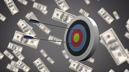 preenchido : Digital animation of arrows hitting a target on a grey background filled with dollar bills
