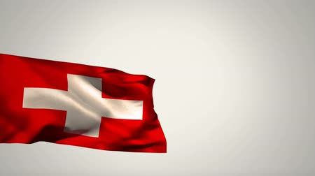 greek flag : Digital animation of a Switzerland flag waving against a grey background Stock Footage