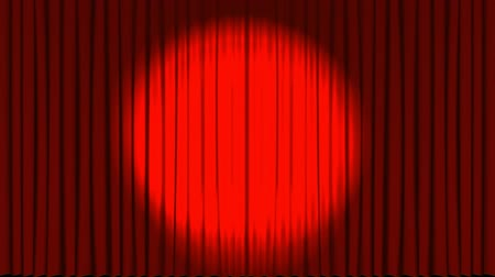 scena : Digital animation of stage curtains opening up to reveal spot lights Wideo
