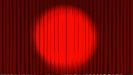 blockbuster : Digital animation of theatre curtains opening up to reveal a film roll