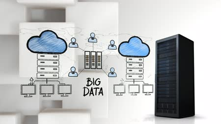 digitální : Digital animation of an illustration of cloud storage and server tower