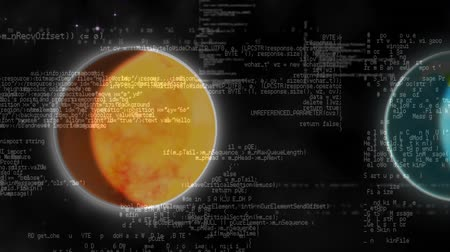 Digital animation of planets in the solar system with interface codes running in the foreground