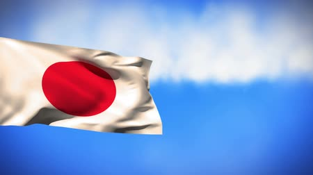 samuraj : Digital animation of a Japanese flag waving against a sky background