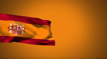 gine : Digital animation of a Spanish flag waving against a yellow background Stok Video