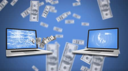 us banknotes : Digital animation of two laptops flashing labels on screen. Dollar bills are seen falling in blue background