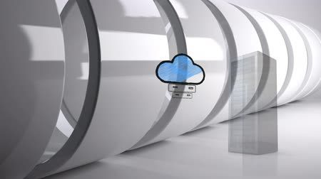 ion : Digital composite of server tower and an illustration of cloud storage in a white background. Giant white rings are seen ion background Stock Footage