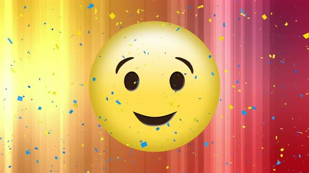 representação : Digital animation of winking face emoji with digital confetti Vídeos