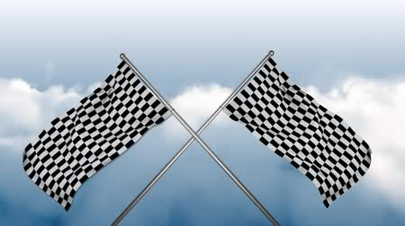 challenger : Digital animation of race flags on poles crossed together on a cloudy sky background