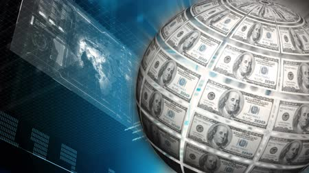 rostoucí : Digital composite of a globe made of money and a screen filled with statistics