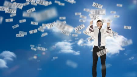kifinomult : Digital animation of a businessman holding bags of money with dollar bills flying on a sky background